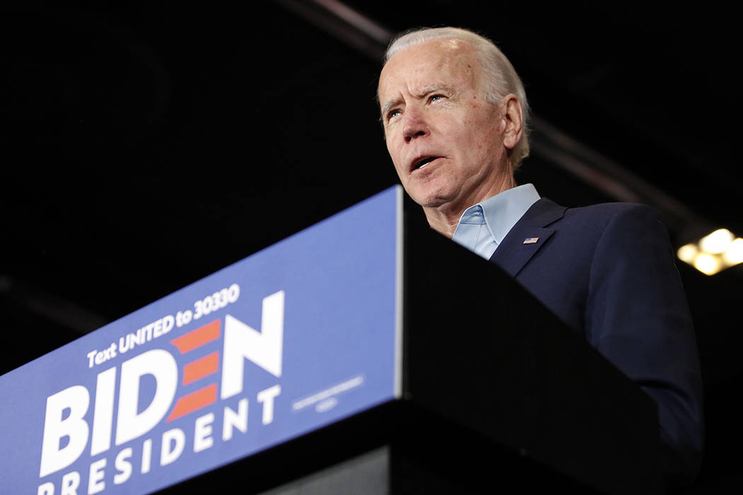 Democratic presidential candidate former Vice President Joe Biden speaks at a caucus night camp ...