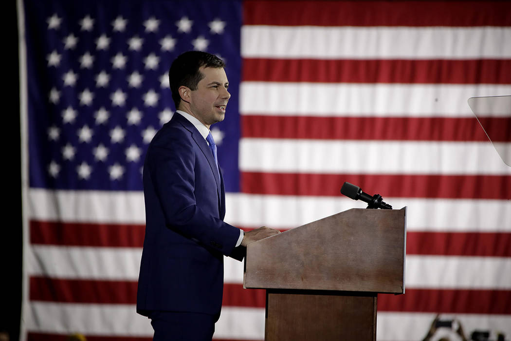 Democratic presidential candidate former South Bend, Ind., Mayor Pete Buttigieg speaks to suppo ...