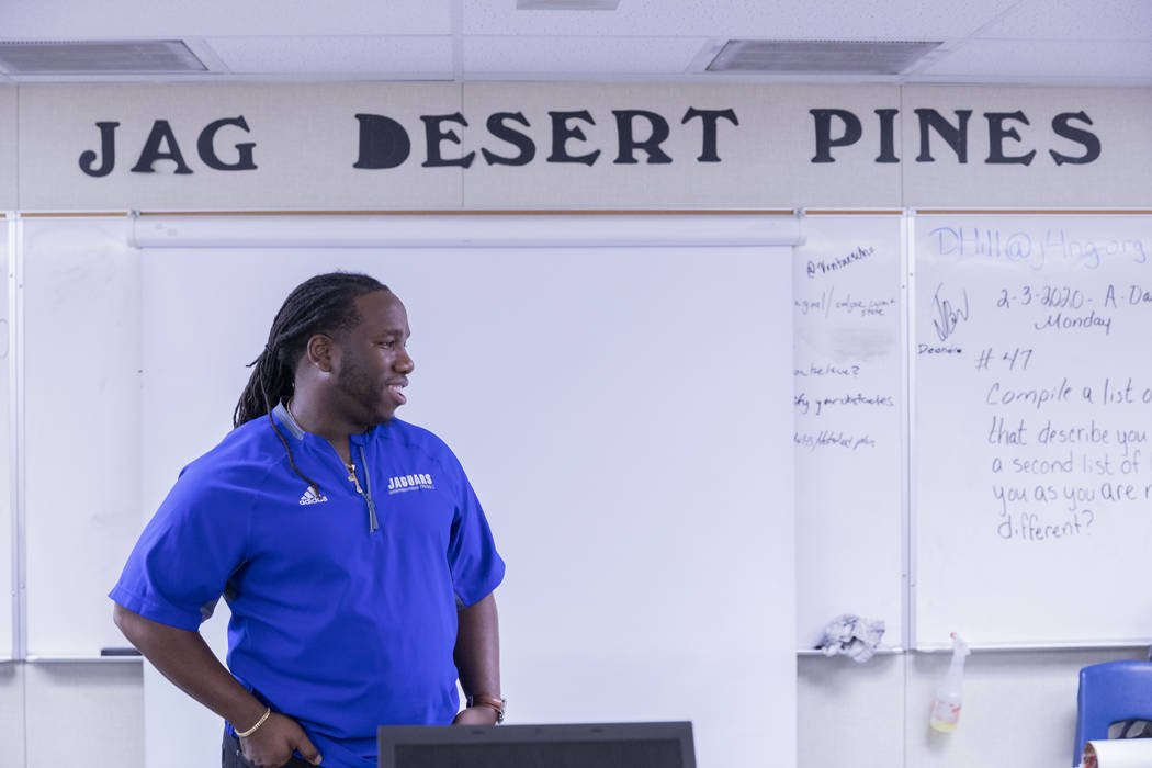 Desert Pines High School's assistant football coach and Life Skills teacher David Hill in his c ...