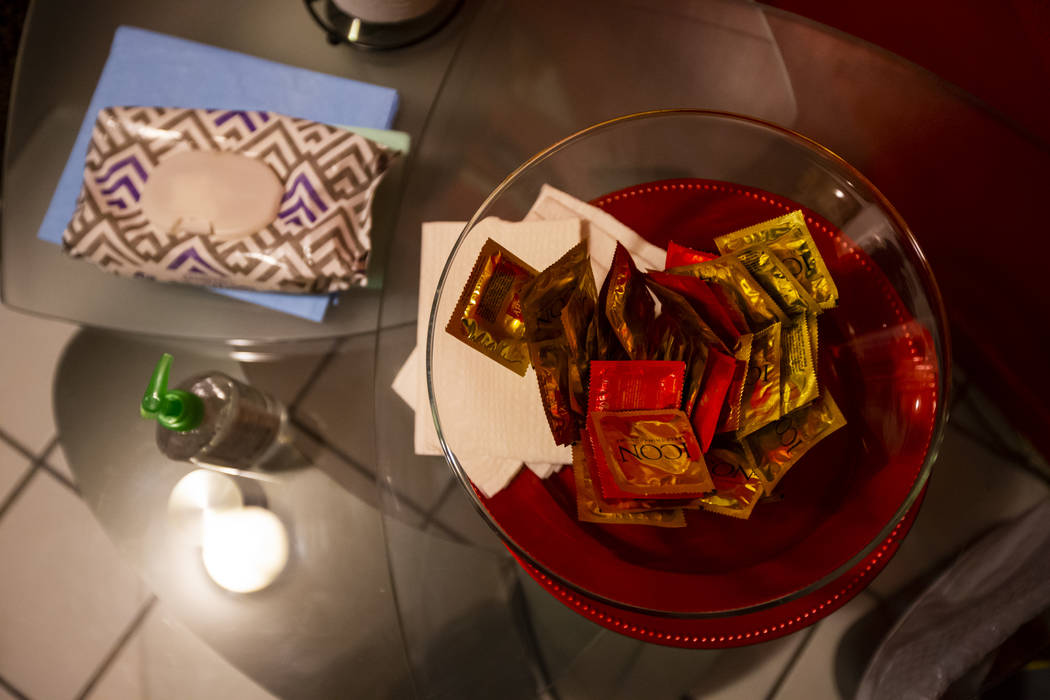 Condoms and more available in a room at The Studios, a fluid lifestyles learning center, in Las ...