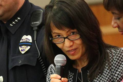 North Las Vegas City Manager Qiong Liu speaks during the swearing-in ceremony for new police ch ...