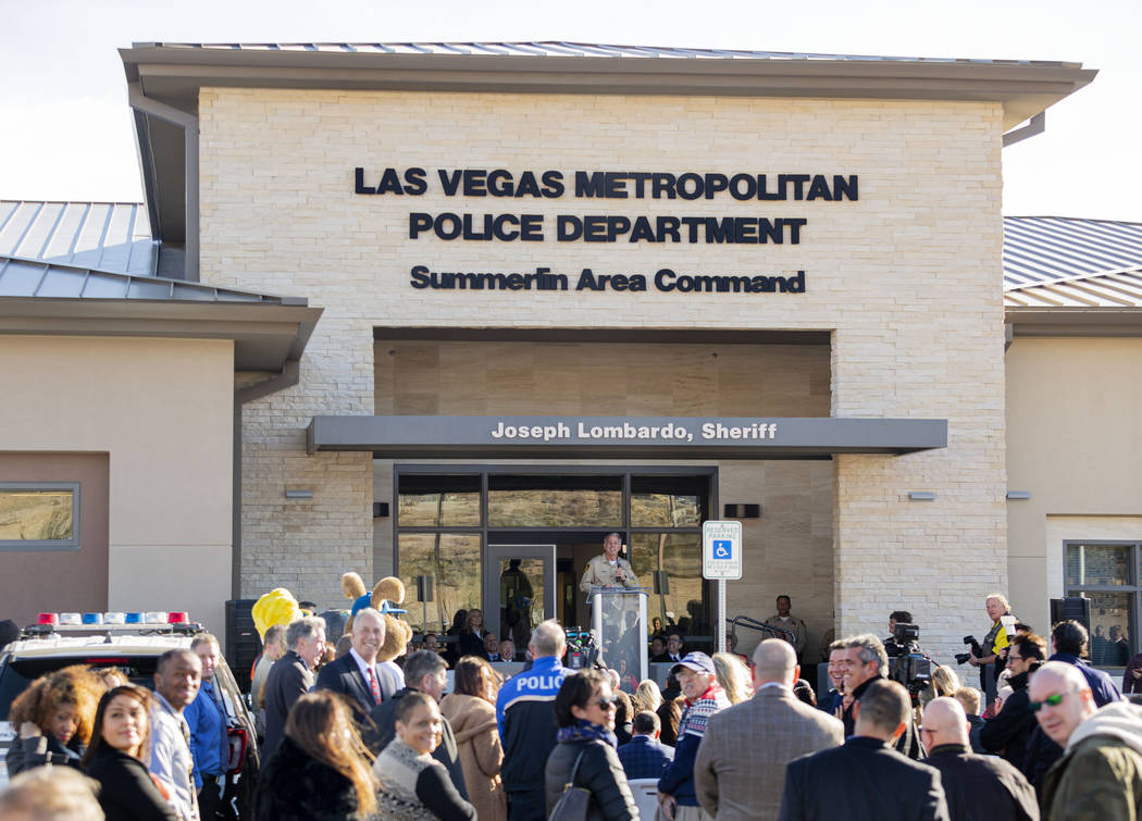 Sheriff Joseph Lombardo speaks during the official grand opening for the new Summerlin Area Com ...