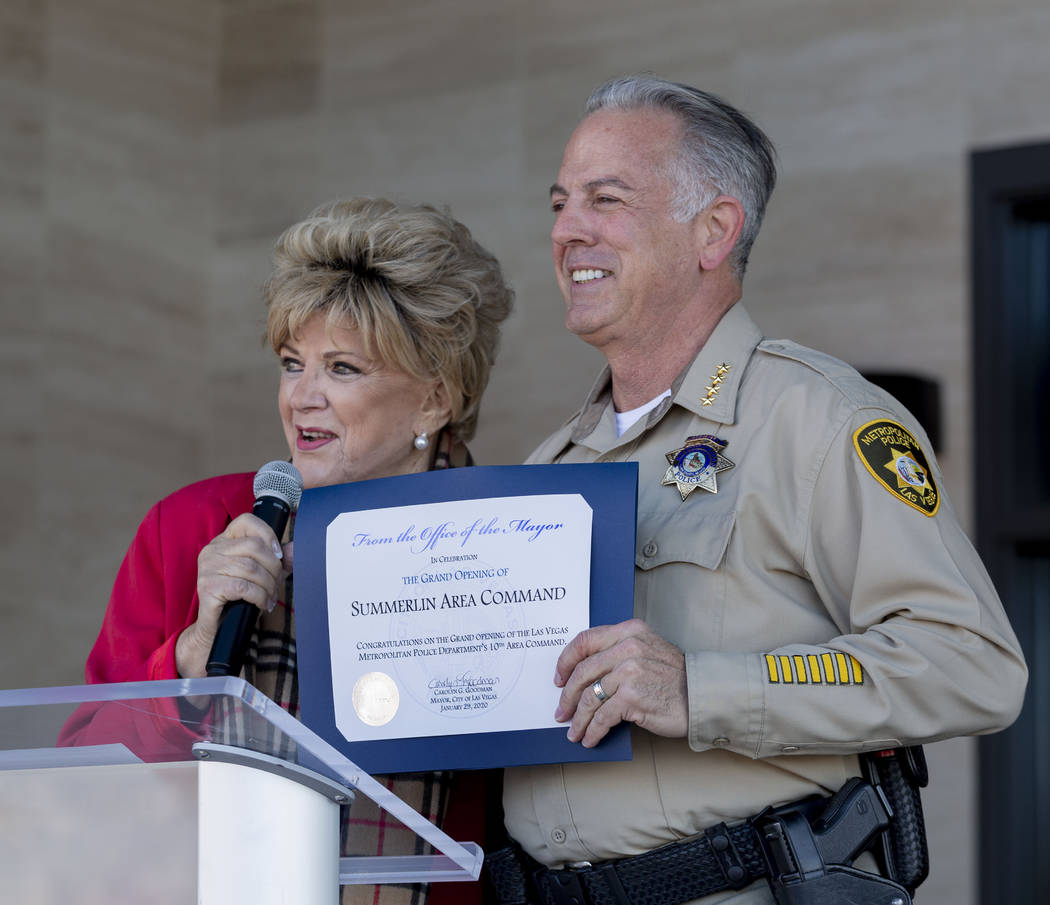 Las Vegas Mayor Carolyn Goodman, left, congratulate Sheriff Joseph Lombardo during the official ...
