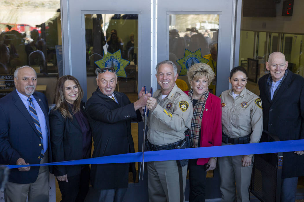 From left, Las Vegas City Councilman Stavros Anthony, councilwoman Victoria Seaman, president o ...
