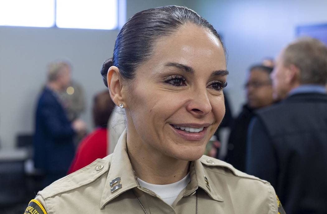 Summerlin Area Command Capt. Sasha Larkin greets members of the community during the official g ...