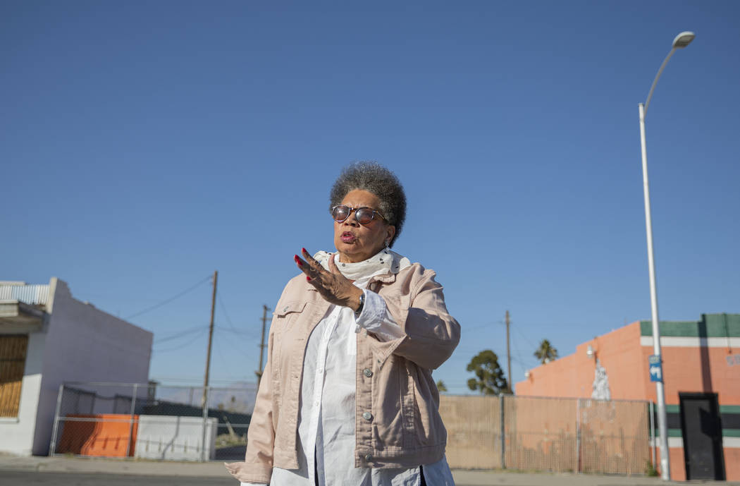 Jackie Brantley, who grew up blocks away from Jackson Street in West Las Vegas, points out the ...