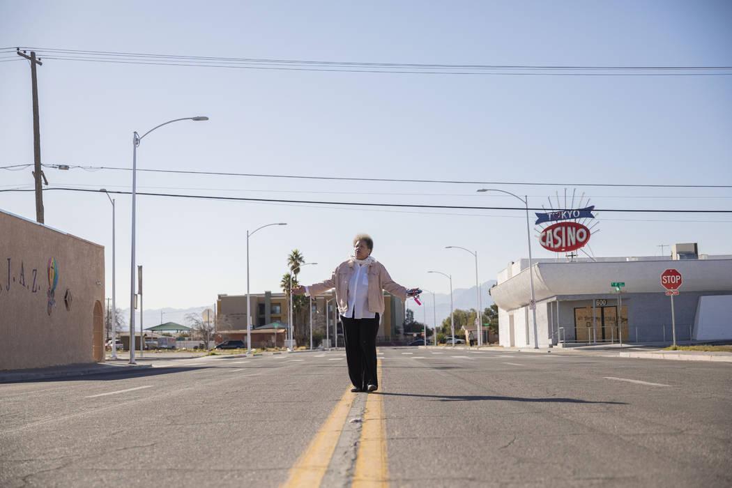 Jackie Brantley, who grew up blocks away from Jackson Street in West Las Vegas, walks the stree ...