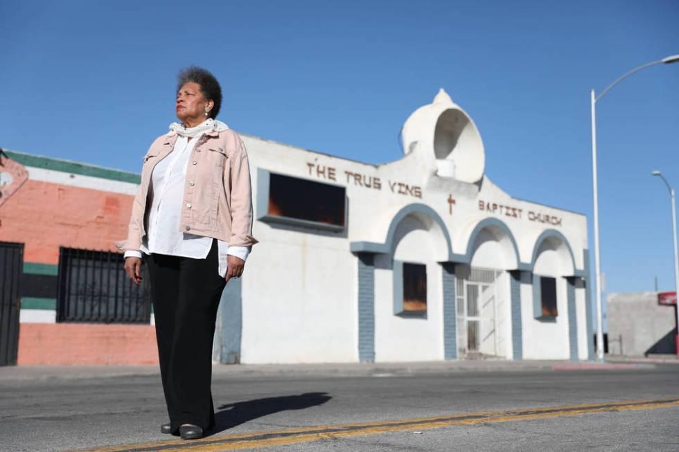 Jackie Brantley, who grew up blocks away from Jackson Street in West Las Vegas, stands in front ...