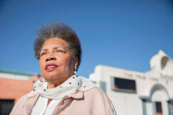 Jackie Brantley, who grew up blocks away from Jackson Ave. in West Las Vegas, stands in front o ...