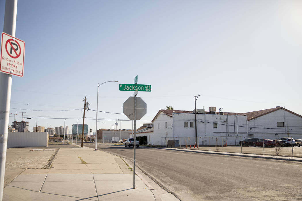 West Jackson Ave. and North East Street signs in West Las Vegas on Thursday, Feb. 20, 2020. (El ...