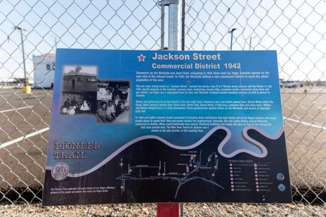 A plaque explains the historical Jackson Street, officially named Jackson Avenue, in West Las V ...