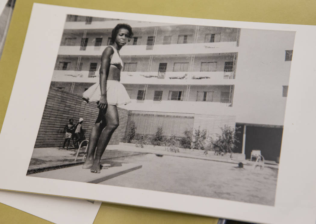 Unidentified swimmer at the Carver House hotel-casino pool in Las Vegas. (UNLV Special Collecti ...
