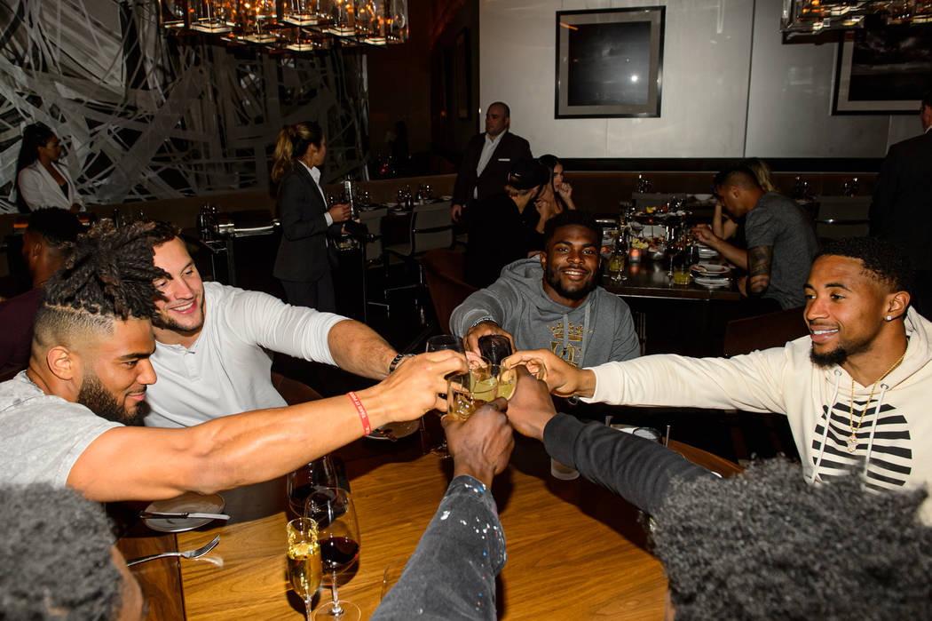 49ers Fred Warner, Jacob Thieneman, Jimmy Sauve-Ward, K'Waun Williams dine at Cut by Wolfgang P ...