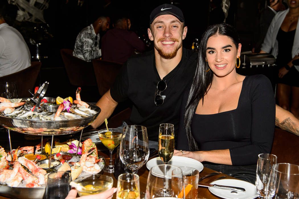 San Francisco 49er George Kittle and his wife, and Claire, dine at Cut by Wolfgang Puck at The ...
