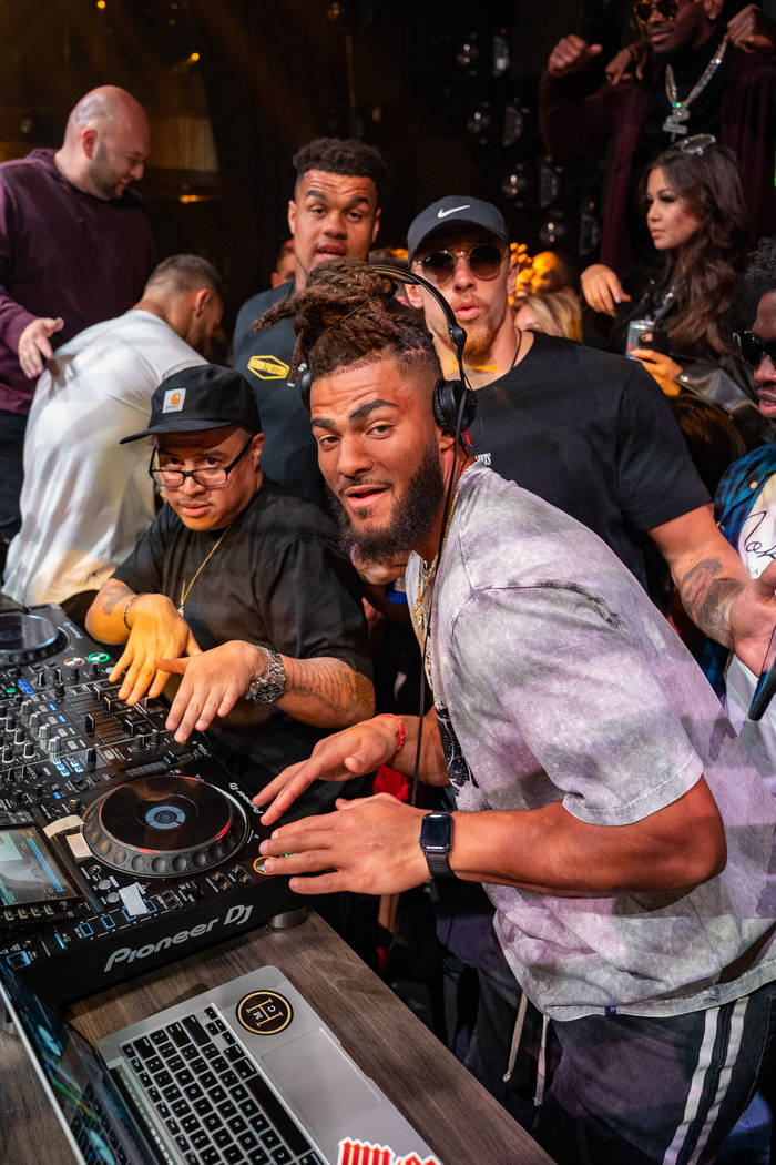 Members of the San Francisco 49ers in the DJ Booth at Jewel Nightclub on Monday, Feb. 3, 2020 ( ...
