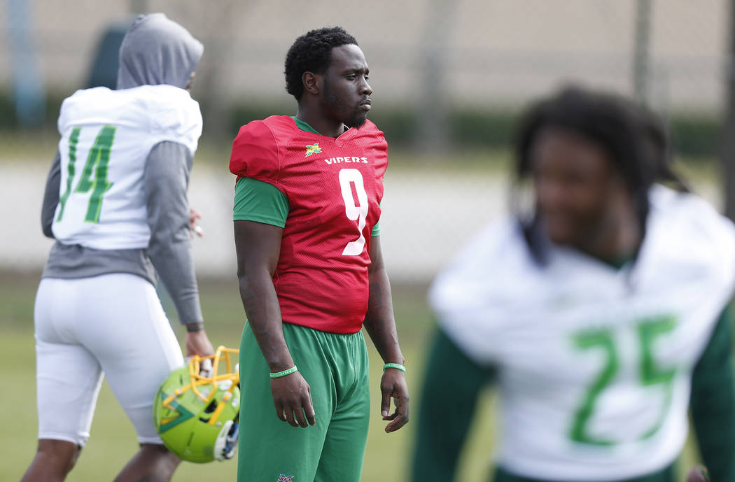 Tampa Bay Vipers quarterback Quinton Flowers (9) looks on during practice at Plant City Stadium ...