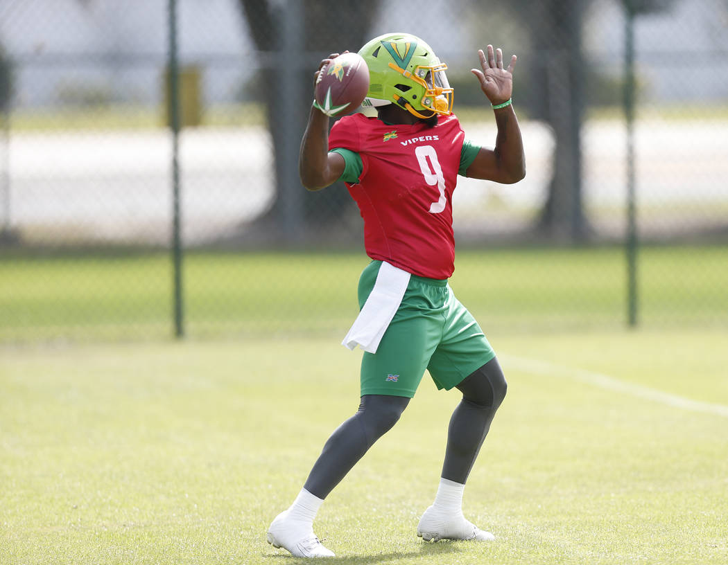 Tampa Bay Vipers quarterback Quinton Flowers (9) throws during practice at Plant City Stadium i ...