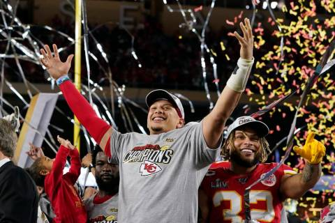 Kansas City Chiefs' Patrick Mahomes, left, and Tyrann Mathieu celebrate after defeating the San ...