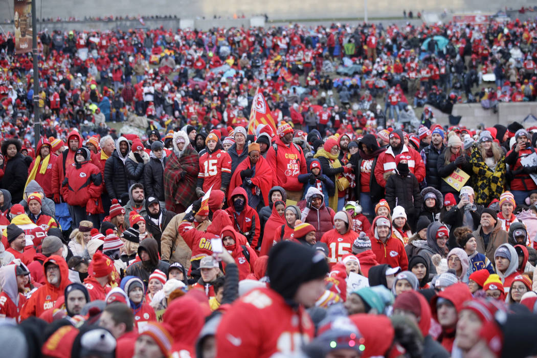 Kansas City Chiefs fans gather for a Super Bowl parade and rally in Kansas City, Mo., Wednesday ...