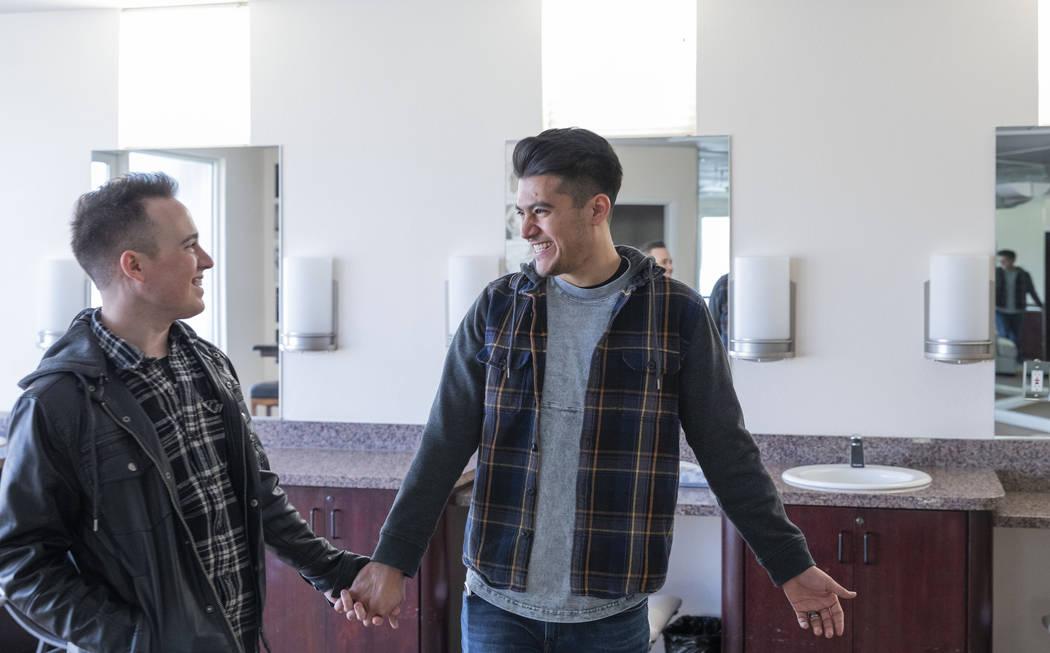 Las Vegas locals Jeff Gaglione, left, and Sam Cruz discuss the getting ready process in the bri ...