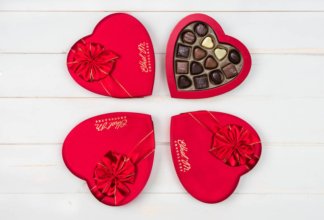 Ethel M's tastings for two include a 14-piece heart-shaped box. (Ethel M Chocolates)