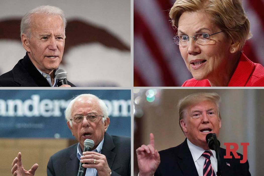 Clockwise from top left: former Vice President Joe Biden, Sen. Elizabeth Warren, President Dona ...