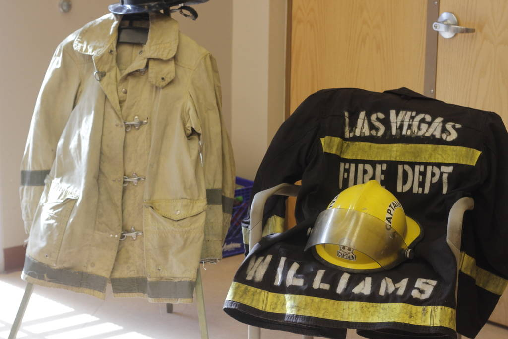 Pictured is the fire suit of Monroe Williams. (Mia Sims/Las Vegas Review-Journal @miasims___)