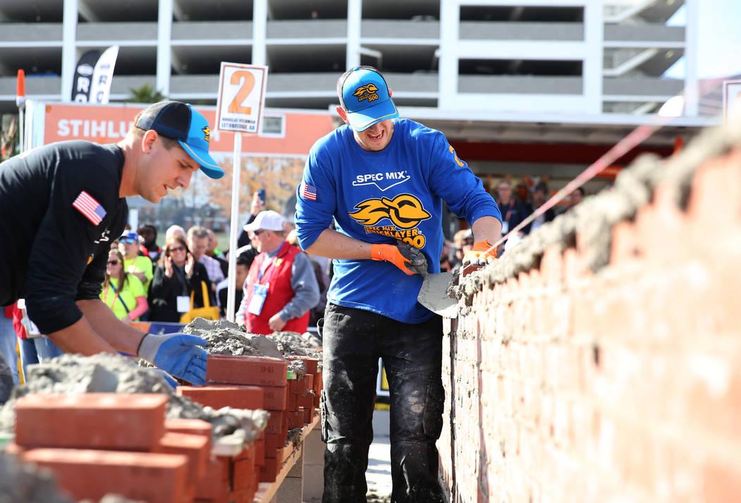 Douglas Veldman, of Alberta, Canada, participates in the 2020 Spec Mix Bricklayer 500 competiti ...