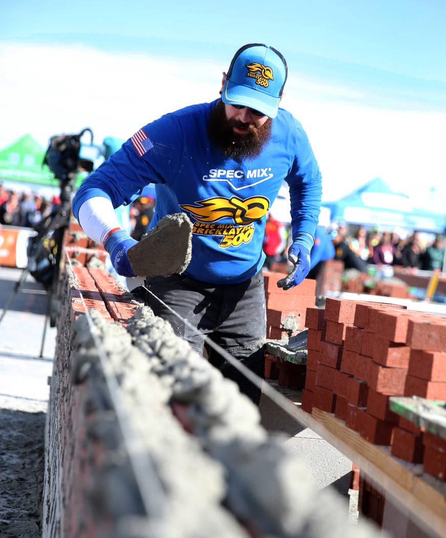 Mario Alves of Ontario, Canada, participates in the 2020 Spec Mix Bricklayer 500 competition du ...