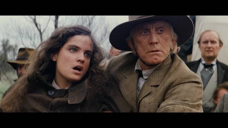 """Sigrid Thornton and Kirk Douglas star in """"The Man from Snowy River"""" (1982)."""