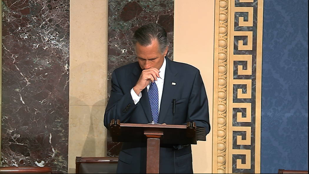 In this image from video, Sen. Mitt Romney, R-Utah, speaks on the Senate floor about the impeac ...