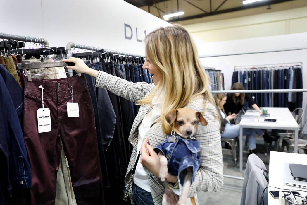 Sandia Sivilli, vice president of global sales for DL1961 Premium Denim, displays sustainable d ...