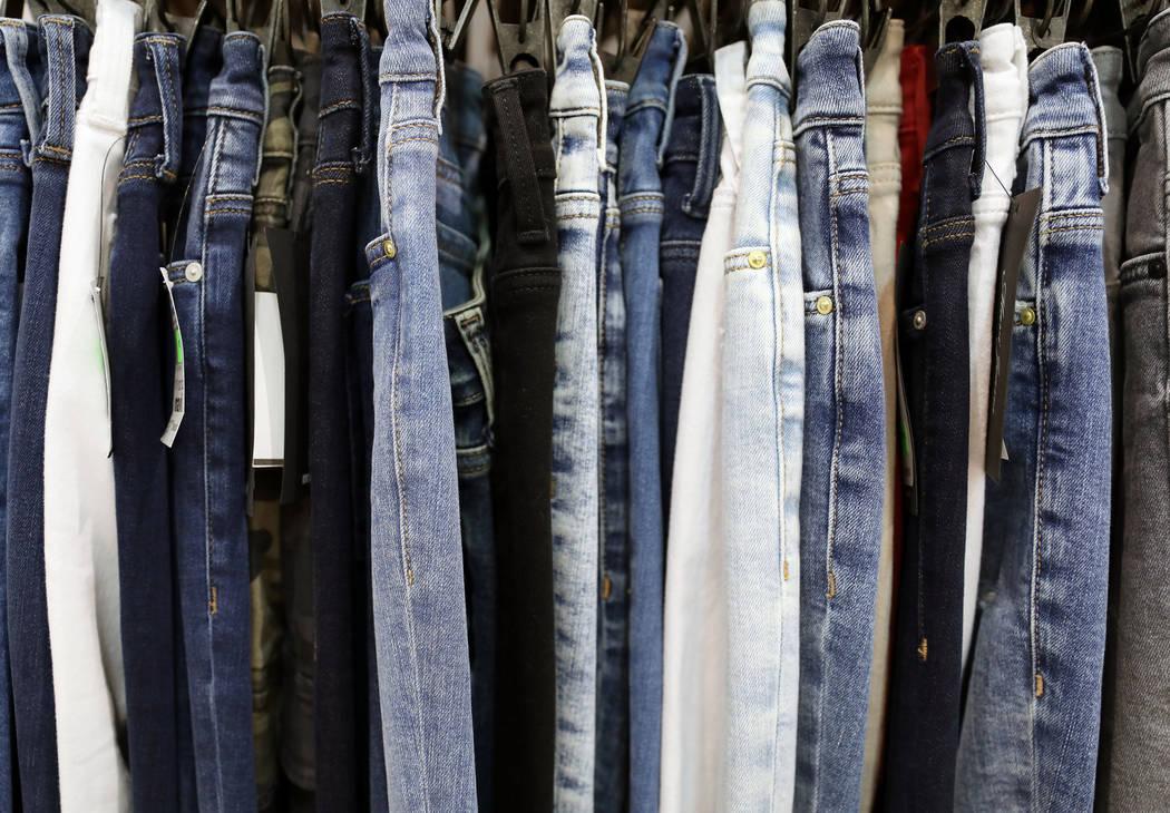Mavi Jeans Inc. denim is displayed at the Mavi Jeans exhibit during the MAGIC fashion trade sho ...