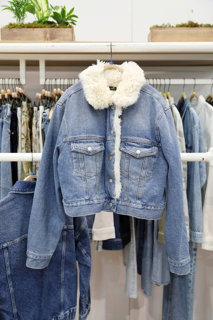 A denim jacket to be released Fall of 2020 is displayed at Mavi Jeans Inc.'s exhibit during the ...