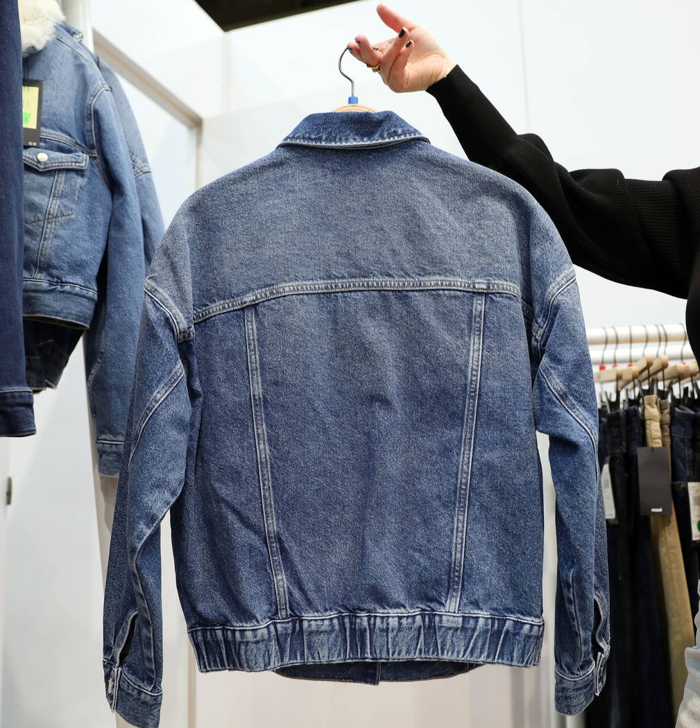 A denim jacket to be released Fall of 2020 is shown at Mavi Jeans Inc.'s exhibit during the MAG ...