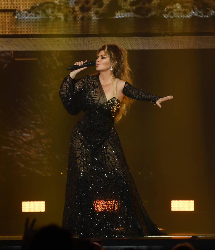 "Shania Twain performs on opening night of her ""Let's Go"" residency at Zappos Theater at Planet ..."