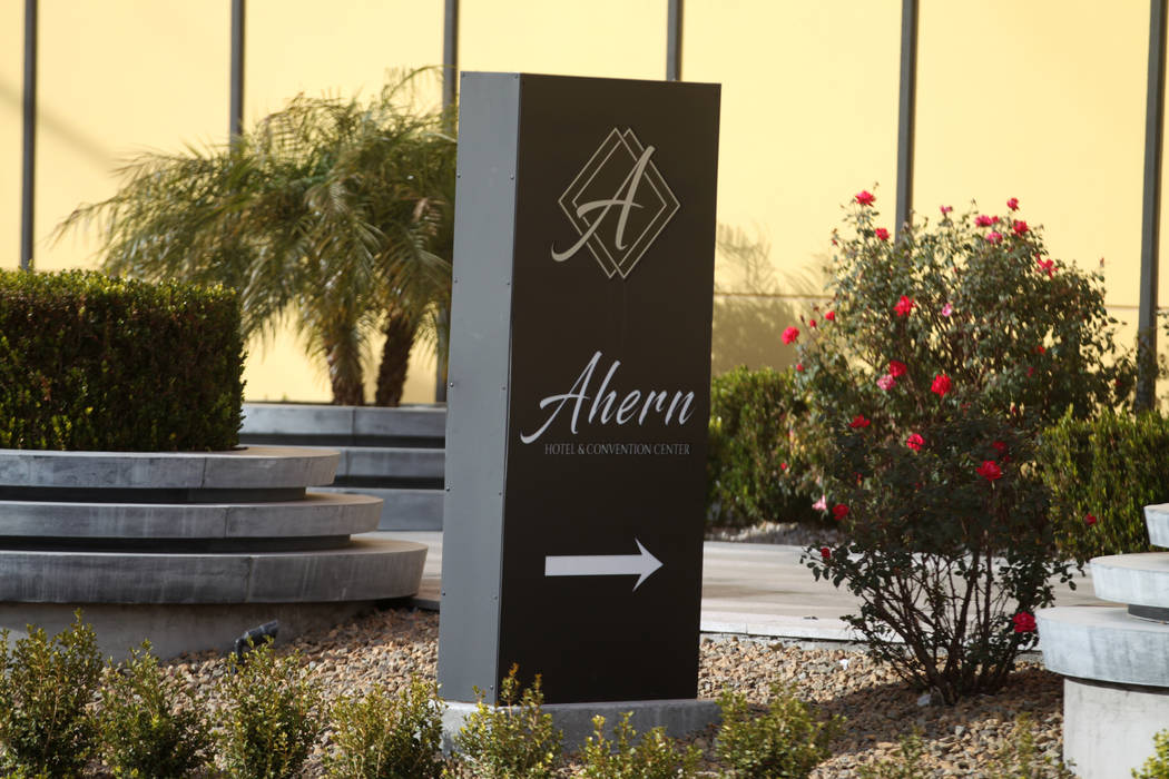 Signage for Ahern Hotel and Convention Center, formerly the Lucky Dragon, in Las Vegas, Wednesd ...