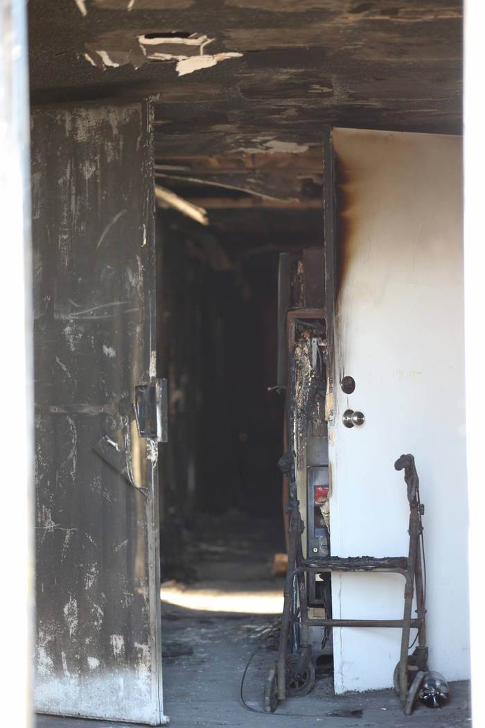 The hallway at the front door of the Alpine Motel Apartments in Las Vegas Jan. 14, 2020. (K.M. ...