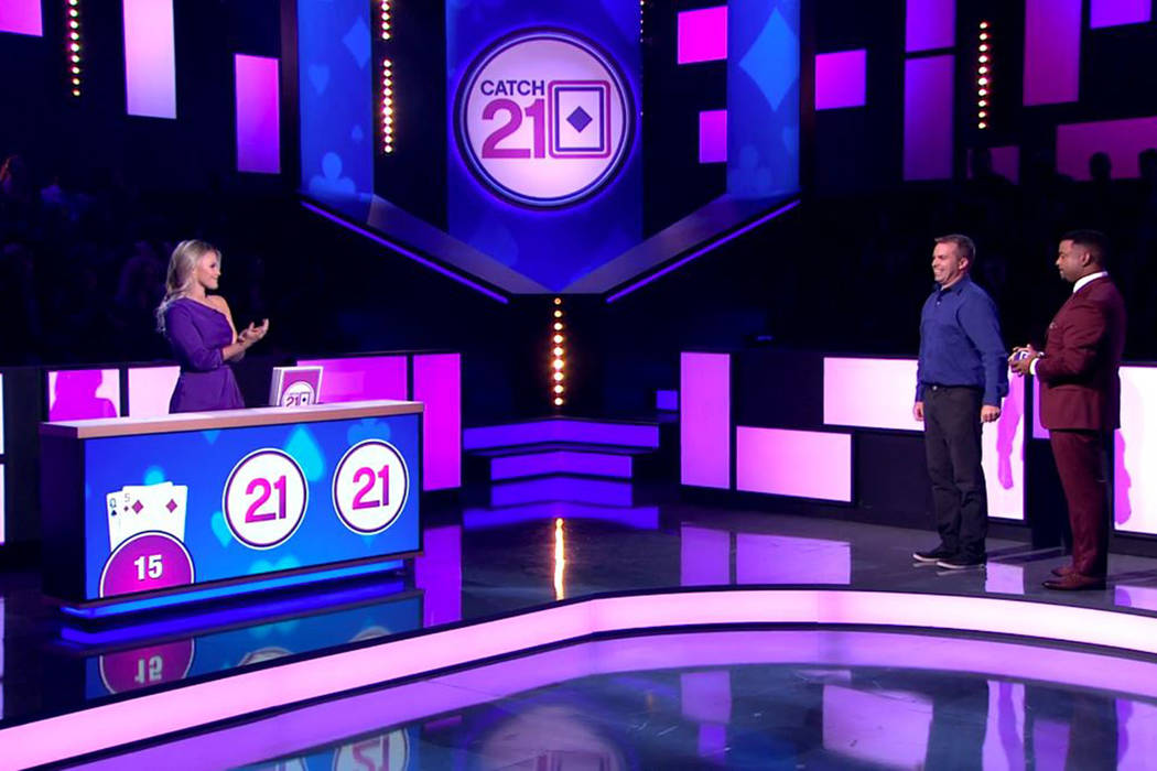 """Catch 21"" with dealer Witney Carson, left, and host Alfonso Riberio, right, films in ..."