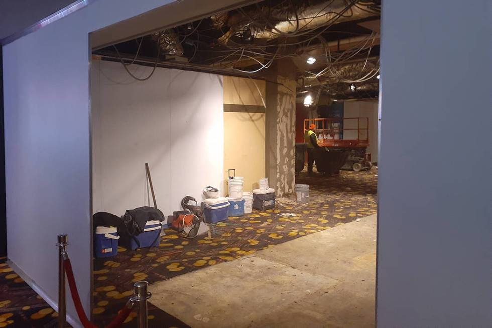 Remodeling work is being done Tuesday, Feb. 4, 2020, at the D Las Vegas. (Tony Garcia/Las Vegas ...