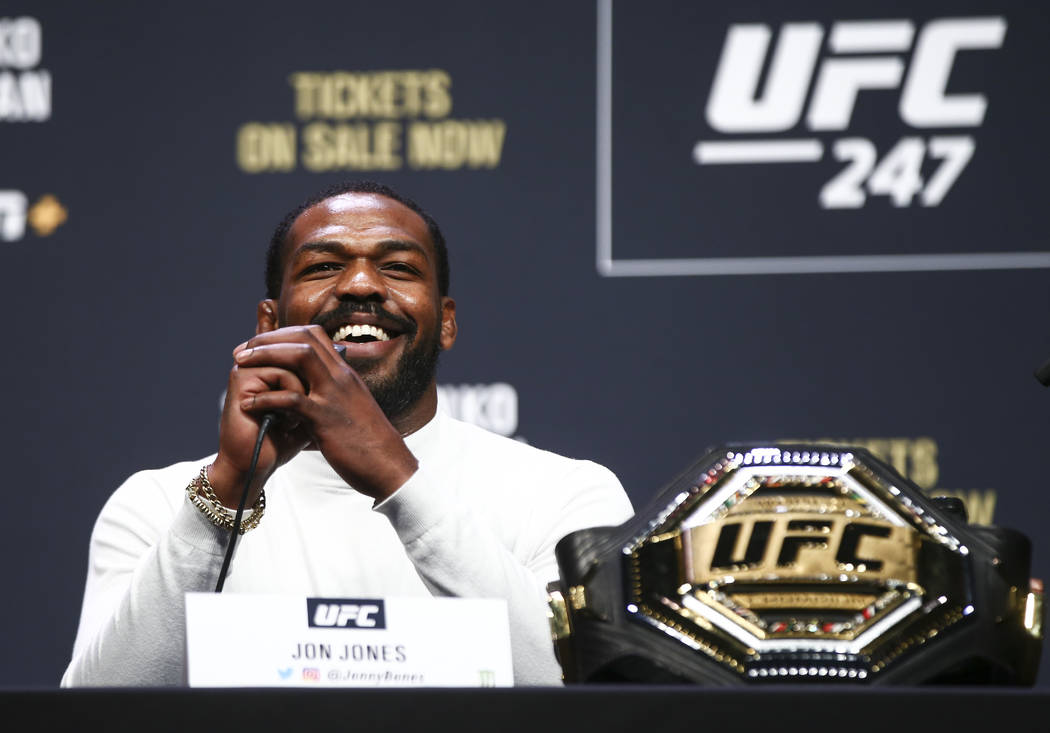 Jon Jones speaks during a press conference ahead of UFC 247, where he is slated to take on Domi ...
