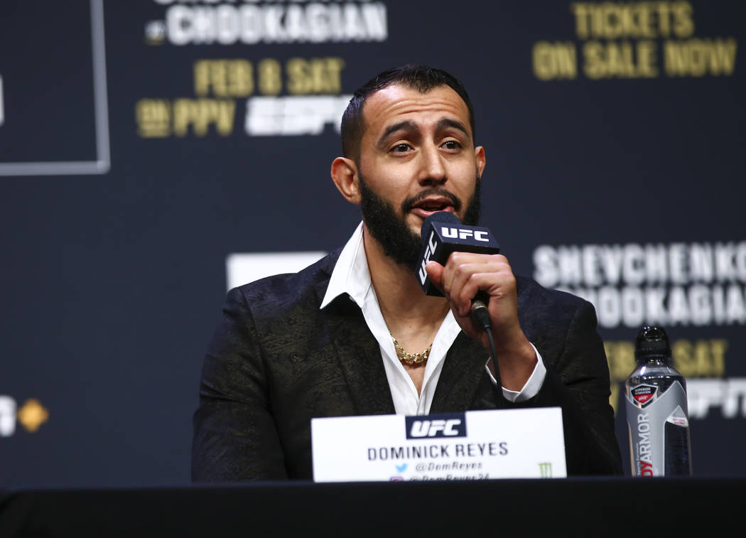 Dominick Reyes speaks during a press conference ahead of UFC 247, where he is slated to take on ...
