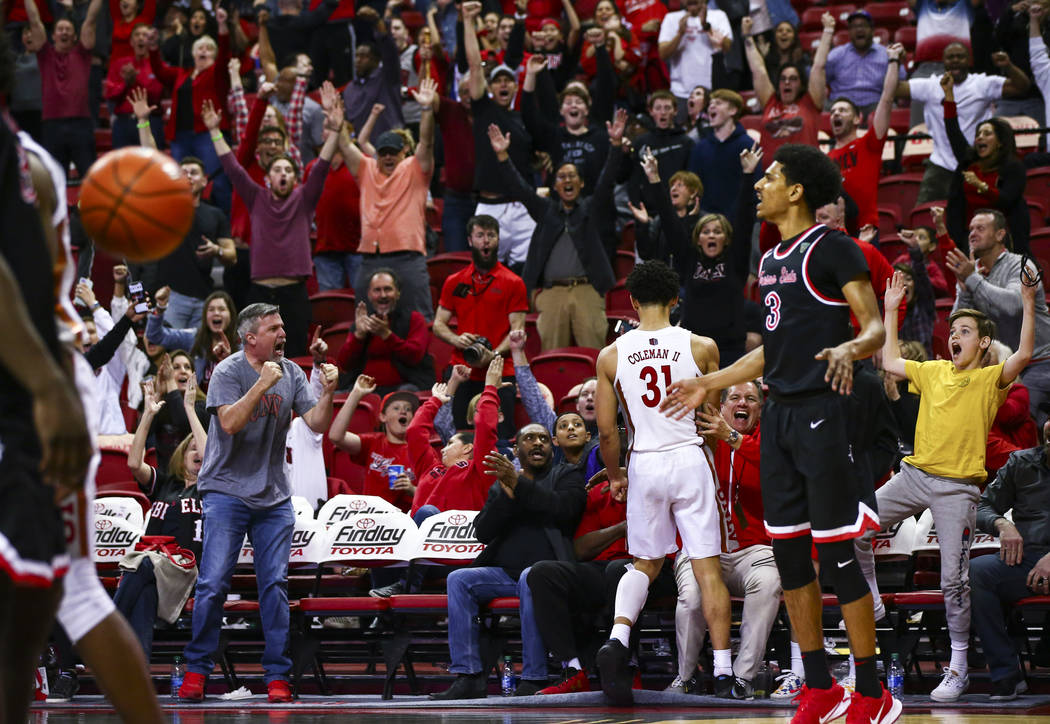 UNLV's Marvin Coleman (31) celebrates after banking in a shot in the final second of the game a ...