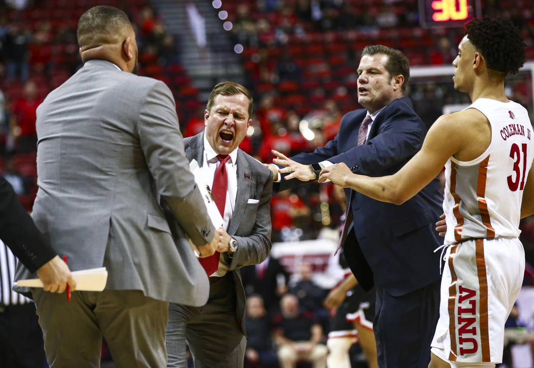UNLV's head coach T.J. Otzelberger reacts to a technical foul called during the second half of ...