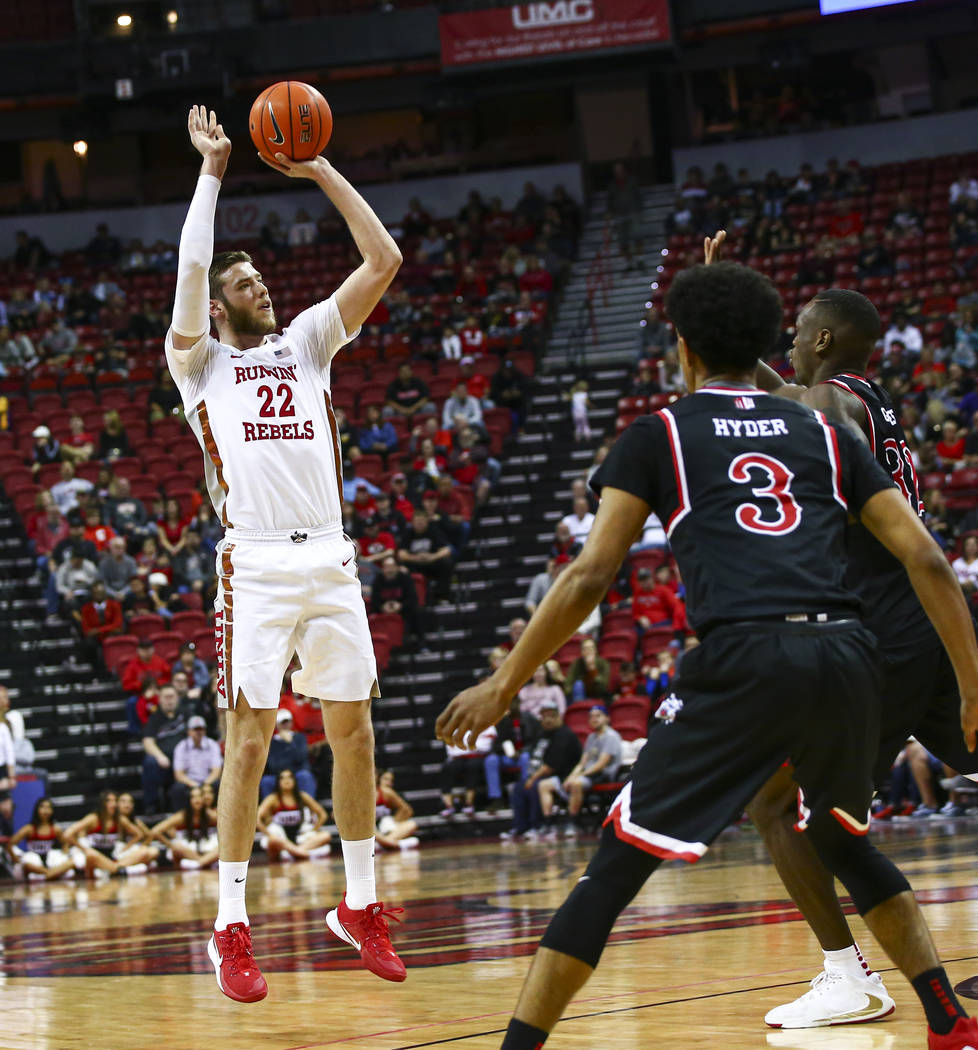 UNLV's Vitaliy Shibel (22) shoots against Fresno State during the second half of a basketball g ...