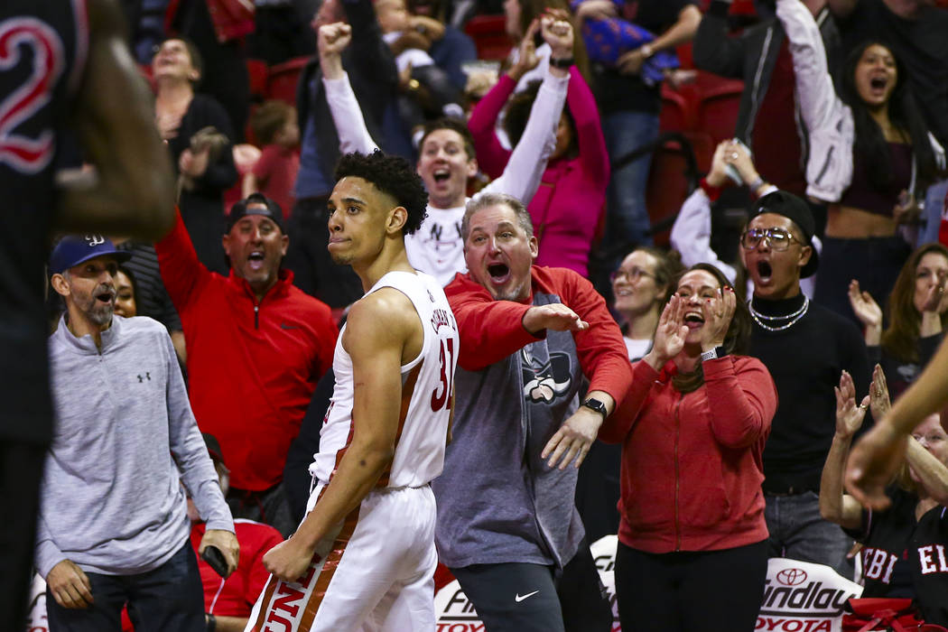 UNLV Rebels guard Marvin Coleman celebrates after scoring a 3-pointer in the final second of th ...