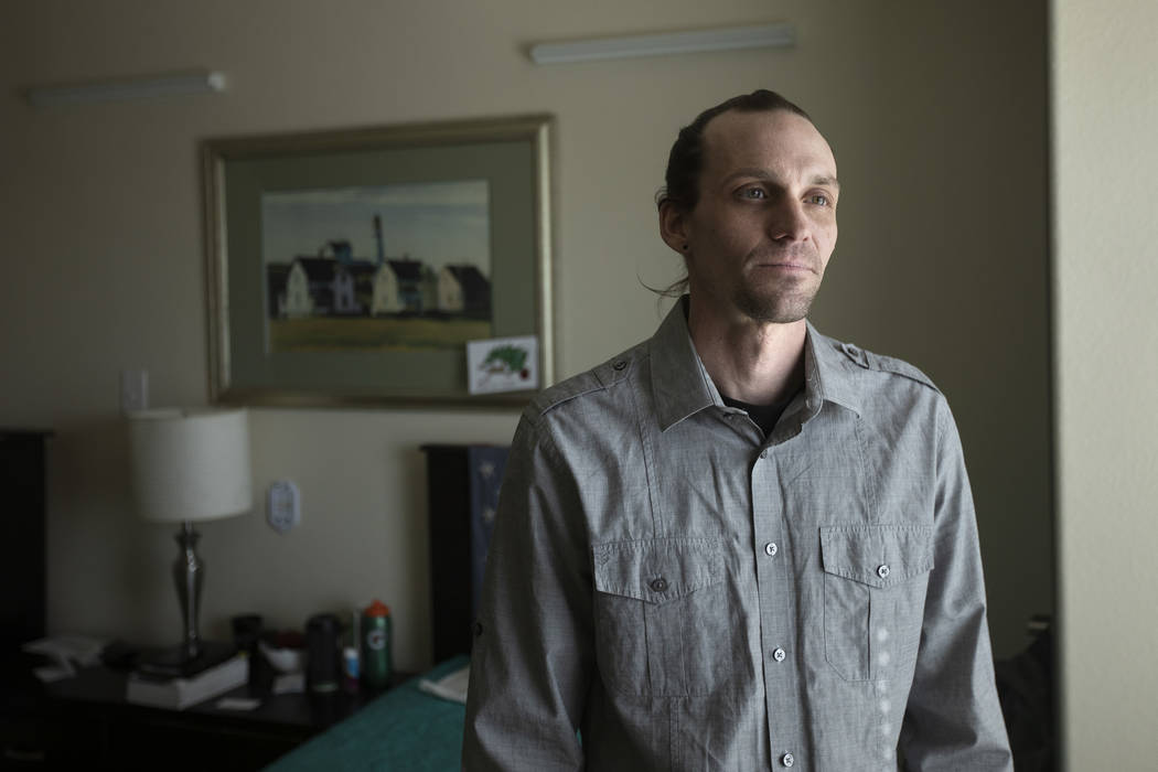 Joseph Riley poses for a portrait in his room at one of Well Care Foundation's facilities on Fr ...