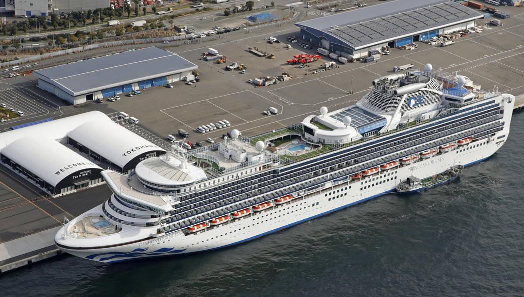 The cruise ship Diamond Princess is docked at Yokohama Port, near Tokyo, Friday, Feb. 7, 2020. ...