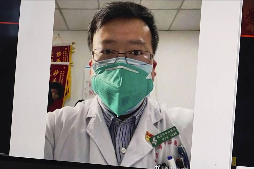This image from video, shows a selfie of Dr. Li Wenliang. The Chinese doctor who got in trouble ...