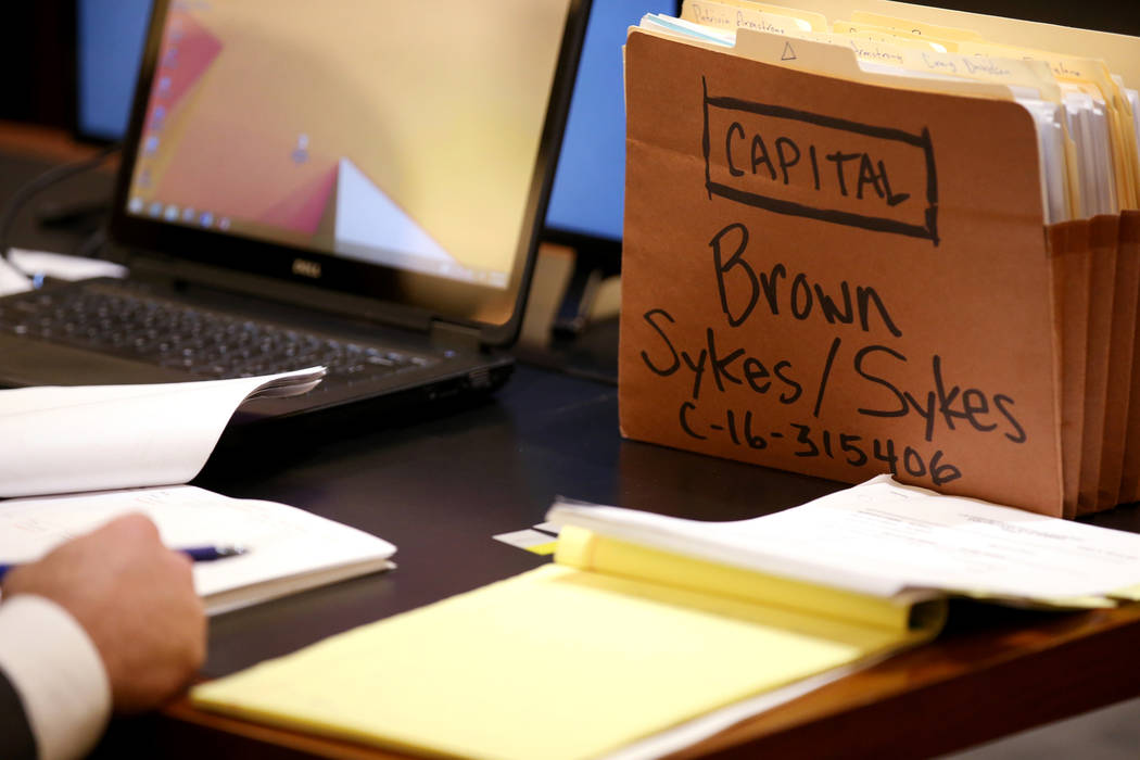 A case file on the prosecution desk during the penalty phase in the Ray Charles Brown capital t ...